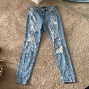 Ripped high rise jeans